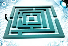 3d penguin standing before green maze illustration Royalty Free Stock Photography