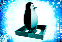 3d penguin standing inside square  illustration Royalty Free Stock Photography