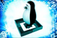 3d penguin standing inside square  illustration Stock Photo