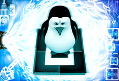 3d penguin standing inside square  illustration Stock Images