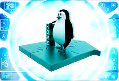 3d Penguin Standing Near by Home Text Blocks Stock Photos