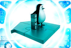 3d Penguin standing Near By Home Text Blocks Stock Photography