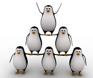 3d penguin standing in other penguins and doing circus concept Royalty Free Stock Image