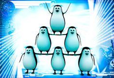 3d penguin standing in other penguins and doing circus illustration Stock Photos