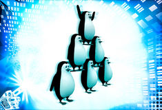 3d penguin standing in other penguins and doing circus illustration Stock Images