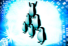 3d penguin standing in other penguins and doing circus illustration Stock Photo