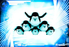 3d penguin standing in other penguins and doing circus illustration Royalty Free Stock Photos