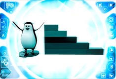 3d penguin standing on pie graph andwith bar graph on side illustration Royalty Free Stock Images