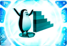 3d penguin standing on pie graph andwith bar graph on side illustration Stock Photography