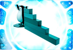 3d penguin standing on pie graph andwith bar graph on side illustration Royalty Free Stock Image