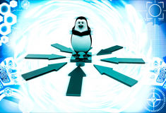 3d penguin standing puzzle piece and arrow in all direction illustration Stock Photo