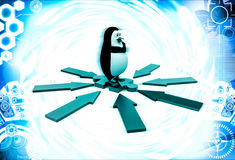 3d penguin standing puzzle piece and arrow in all direction illustration Stock Photography