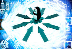 3d penguin standing puzzle piece and arrow in all direction illustration Royalty Free Stock Photo