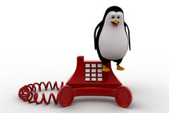 3d penguin standing on red old telephone concept Stock Images