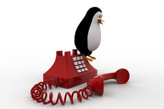 3d penguin standing on red old telephone concept Royalty Free Stock Photography