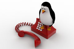 3d penguin standing on red old telephone concept Stock Photos