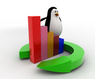 3d penguin standing on round arrow and bar graph concept Stock Images