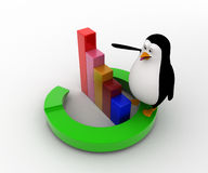 3d penguin standing on round arrow and bar graph concept Royalty Free Stock Photo