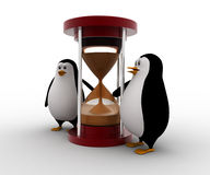 3d penguin standing beside sand clock concept Royalty Free Stock Photo