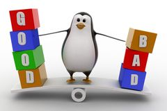 3d penguin standing on see saw with good and bad text blocks concept Royalty Free Stock Photos