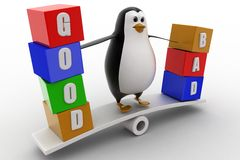 3d penguin standing on see saw with good and bad text blocks concept Stock Photo