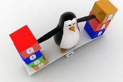 3d penguin standing on see saw with good and bad text blocks concept Stock Photos