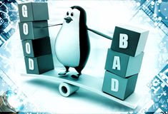 3d penguin standing on see saw with good and bad text blocks illustration Stock Images