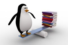 3d penguin standing on seesaw with books on other side concept Stock Images