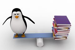 3d penguin standing on seesaw with books on other side concept Stock Photography
