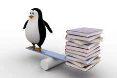 3d penguin standing on seesaw with books on other side concept Stock Photos