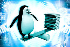 3d penguin standing on seesaw with books on other side illustration Stock Photo
