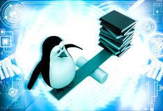 3d penguin standing on seesaw with books on other side illustration Royalty Free Stock Photography