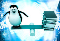 3d penguin standing on seesaw with books on other side illustration Royalty Free Stock Photo