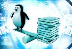 3d penguin standing on seesaw with books on other side illustration Royalty Free Stock Image