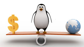 3d penguin standing on seesaw to balance dollar and earth model concept Royalty Free Stock Images