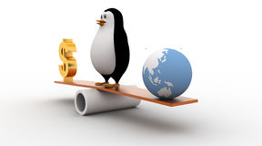 3d penguin standing on seesaw to balance dollar and earth model concept Stock Images