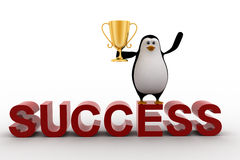 3d penguin standing on sucess text with a golden trophy on his hands Royalty Free Stock Photo