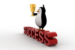 3d penguin standing on sucess text with a golden trophy on his hands Stock Photography