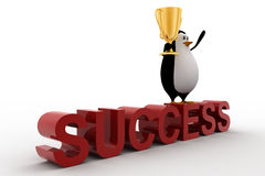 3d penguin standing on sucess text with a golden trophy on his hands Stock Images