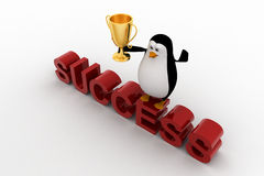 3d penguin standing on sucess text with a golden trophy on his hands Stock Photo
