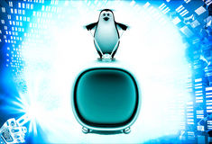 3d penguin standing on television illustration Stock Photos