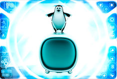 3d penguin standing on television illustration Stock Photo