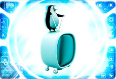 3d penguin standing on television illustration Royalty Free Stock Image