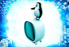 3d penguin standing on television illustration Royalty Free Stock Photography