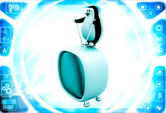 3d penguin standing on television illustration Royalty Free Stock Images