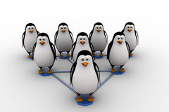 3d penguin standing on triangular  network concept Royalty Free Stock Image