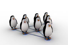 3d penguin standing on triangular  network concept Stock Photography