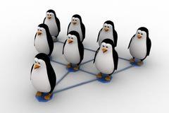 3d penguin standing on triangular  network concept Stock Image