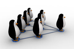 3d penguin standing on triangular  network concept Royalty Free Stock Photo