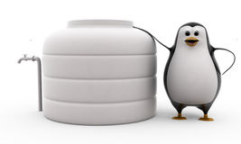 3d penguin standing by water storage tank concept Royalty Free Stock Photos